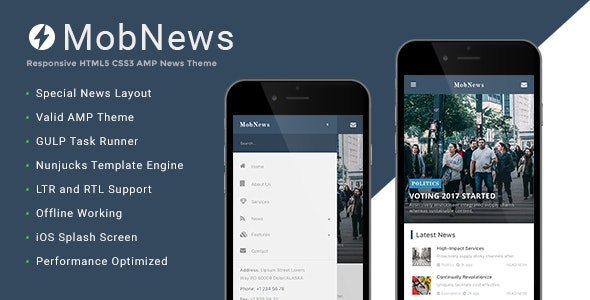 MobNews Google AMP News Template